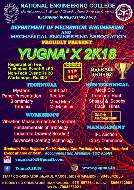 yugnax 2k18 symposium at Nation Engineering College