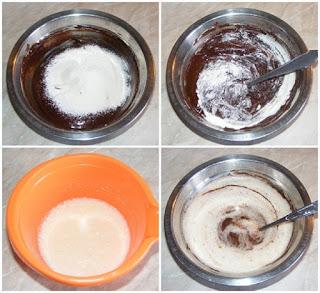 preparare compozitie de vulcan de ciocolata, retete cu oua zahar unt si faina, preparare compozitie prajitura, retete culinare,