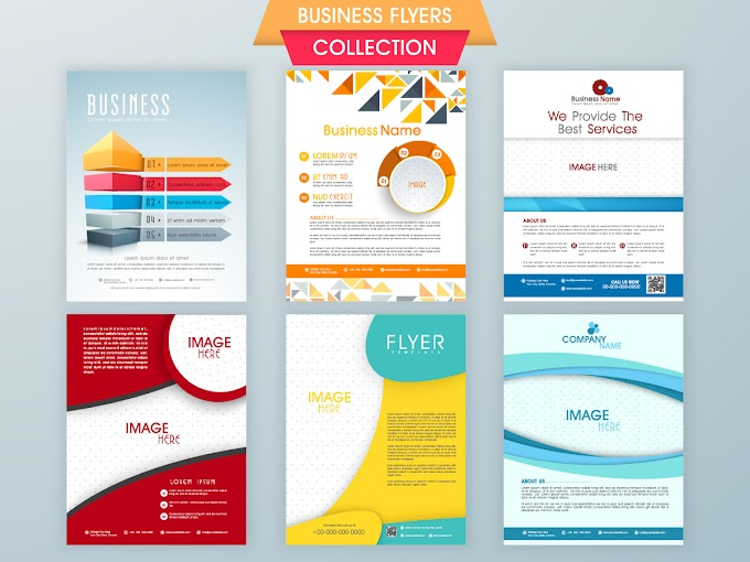 Business flyer with poster modern design vector template 02