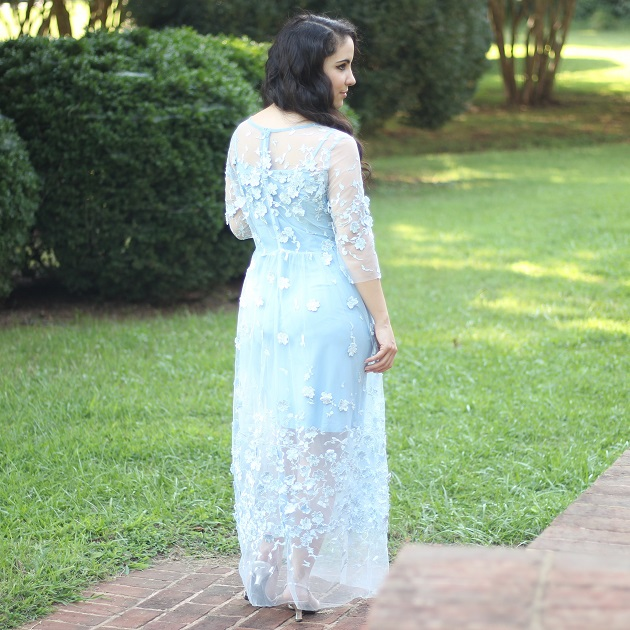 Blue Flower Applique Dress