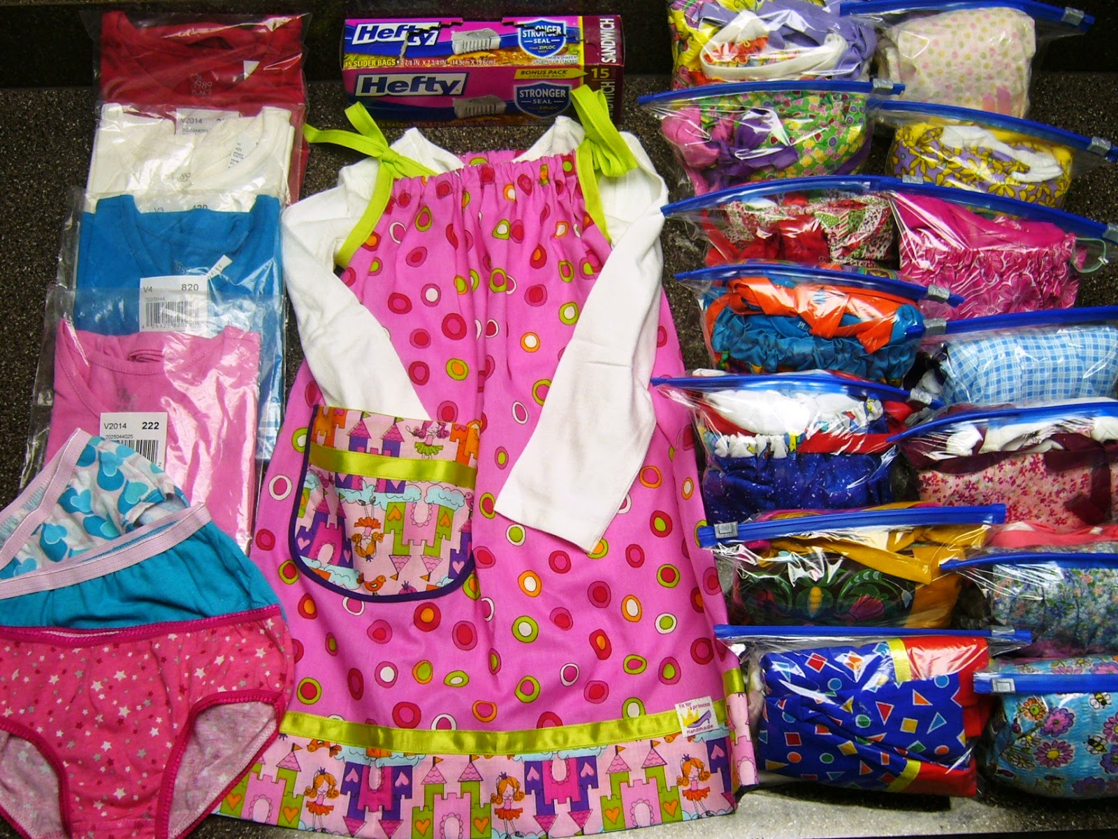 Pillowcase dresses, panties and tops for Operation Christmas Child shoeboxes.