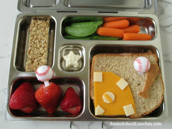 Baseball field sport bento lunch in a Planetbox.