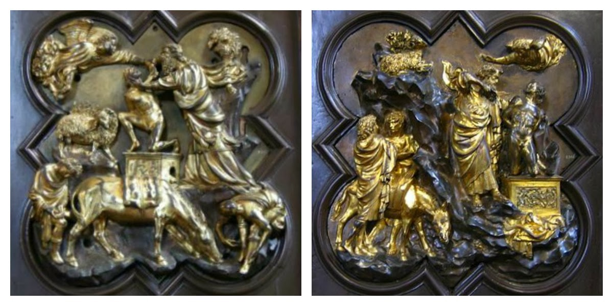 Filippo Brunelleschi and Lorenzo Ghiberti Sacrifice of Isaac bronze 1401 & Baptistery Doors Apple Tart primary cookies