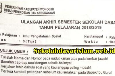 SOAL UAS IPS Kelas 3 SD/MI Tahun Ajaran 2018/2019