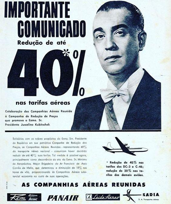Campanha para redução dos preços de passagens aéreas nos anos 50