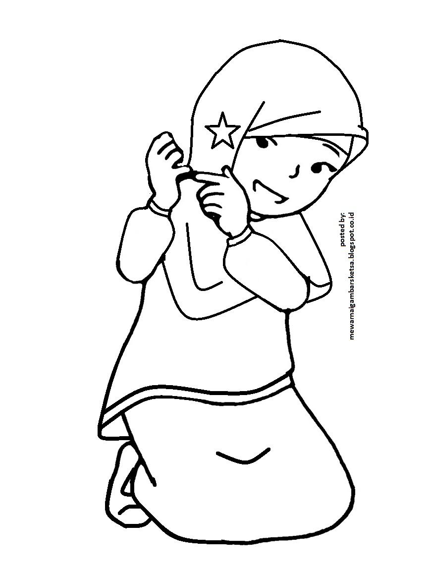 Mewarnai Gambar: Gambar Kartun Anak Mengaji