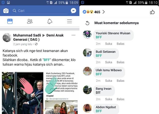 Arti dan fungsi BFF di status Facebook yang sedang Trending