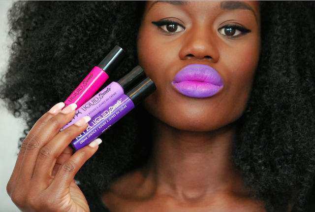 Swatch nyx liquid suede, swatch lipstick, rouge à lèvre peau noire, nyx, dégradé rouge à lèvres