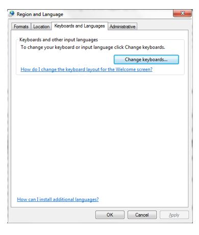 Region and language window 7 for changing keyboard input for rupee symbol