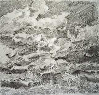 Angeles Forest Storm Square Sketch Katherine Kean graphite 8 x 8 inches