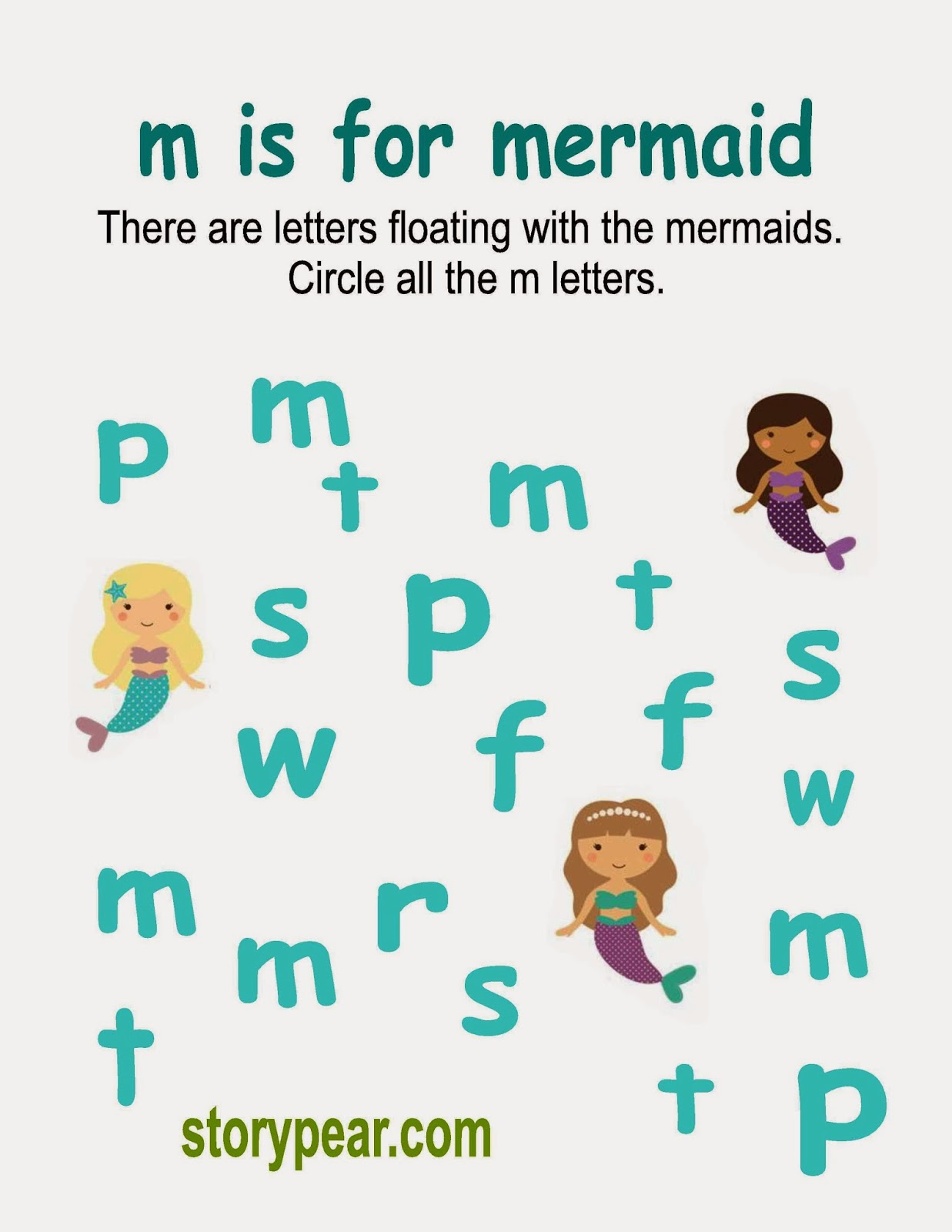 story pear mermaid circle the letter m activity sheet. Black Bedroom Furniture Sets. Home Design Ideas