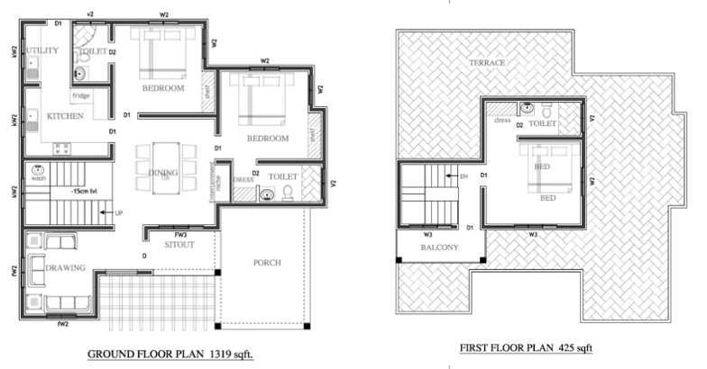 Poetically beautiful 3 bedroom kerala villa design in 1744 for Plot plan for my house online