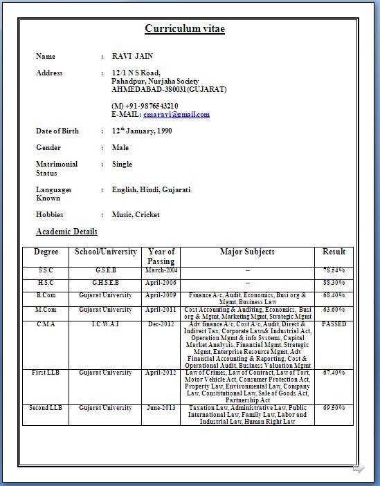 Resume For Freshers Bbm CMA Candidate Resume Sample Template Example of ICWAI with M Com & LLB