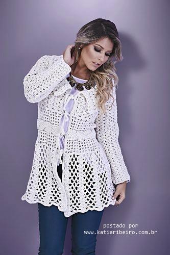 323d621fdfa81 Casaco de Crochê Branco Barroco com Gráfico e Receita - Katia ...