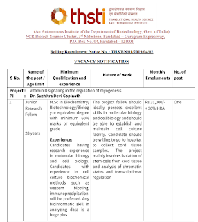 THSTI JRF Recruitment Notification 2019-20 – Previous Papers