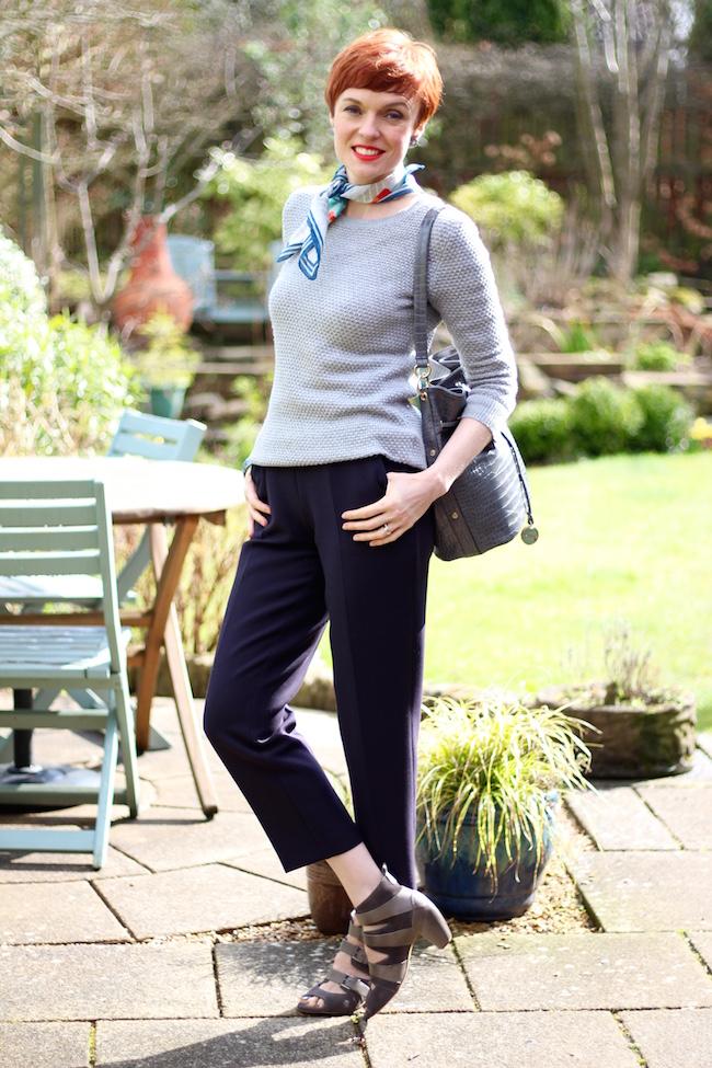 Fake Fabulous | Navy Cropped ME&EM Trousers, Grey Gap Jumper & Seasalt Neckerchief