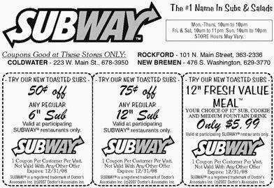 photo relating to Printable Subway Coupons named Subway discount codes printable january 2018 - Samurai blue coupon