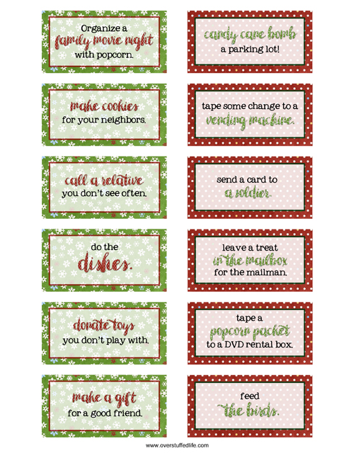 picture relating to Kindness Cards Printable named 4 Programs for Sweet-Absolutely free Arrival Calendars - Overstuffed