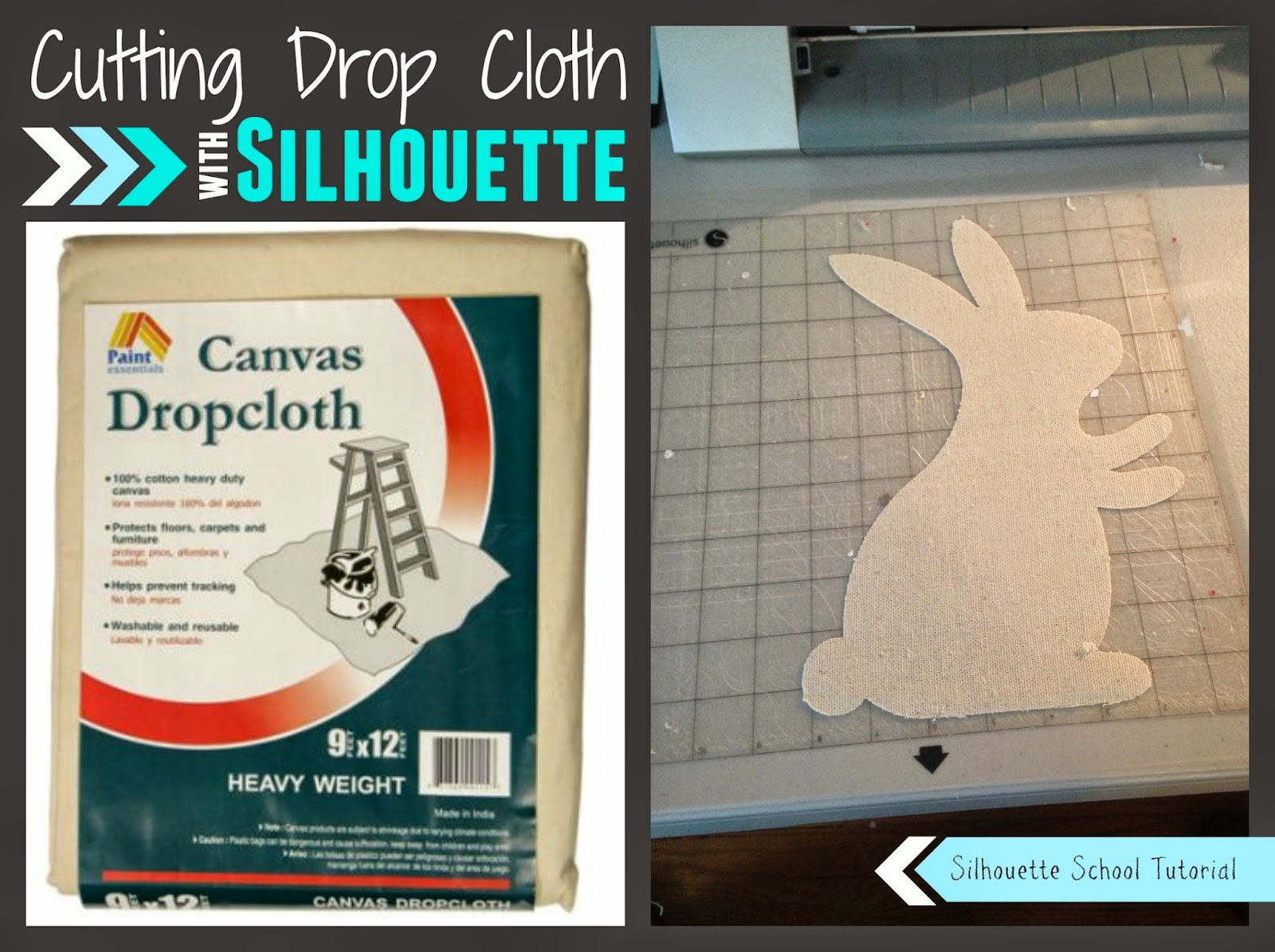 Silhouette Cameo, cut drop cloth, Silhouette tutorial