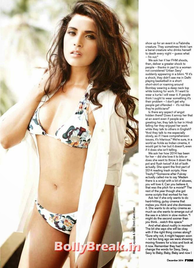 , Richa Chadda Bikini Pics, Hot HD FHM magazine Scans Dec 2014