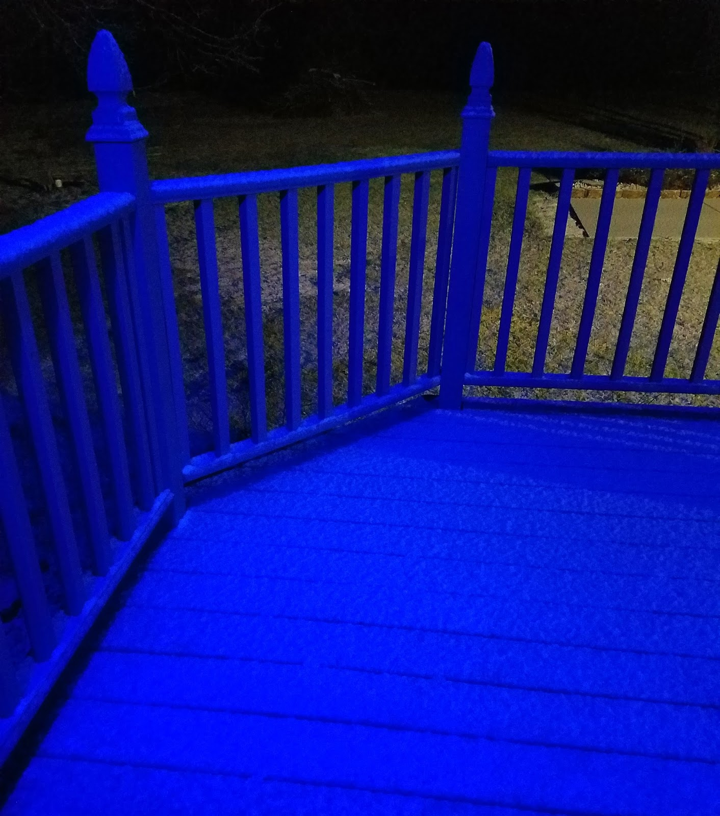 Although I Am Not A Fan Of The Snow, It Does Look Pretty When It Reflects  Our Blue Porch Lights We Have Lit To Honor Law Enforcement.