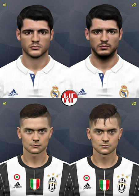 PES 2017 Alvaro Morata & Paulo Dybala face by WER facemaker