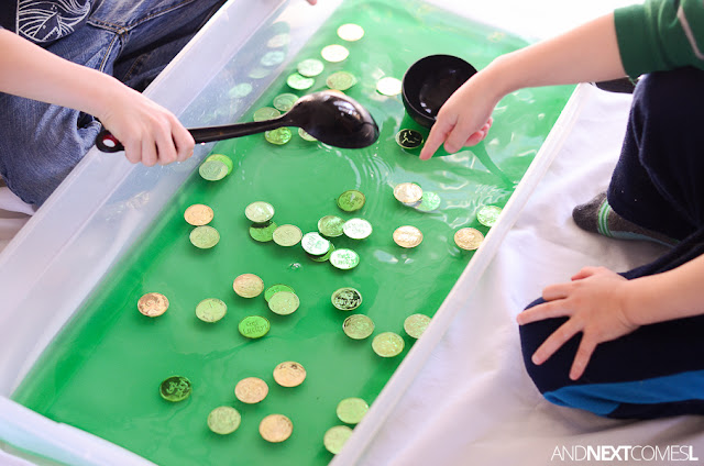 St. Patrick's Day sensory activity for toddlers and preschool