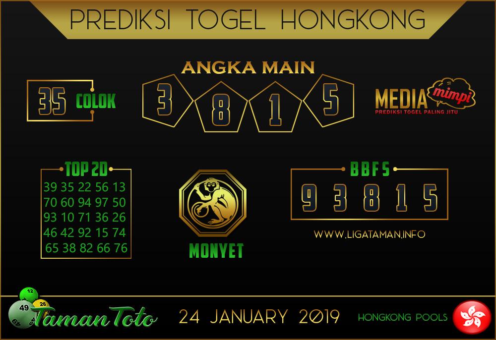 Prediksi Togel HONGKONG TAMAN TOTO 24 JANUARI 2019