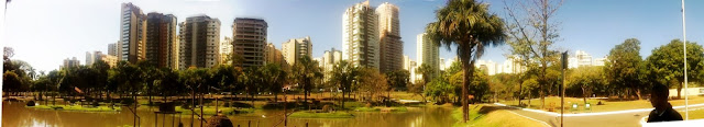 Panorâmica parcial vista de dentro do zoológico de Goiânia ladeado por edifícios.