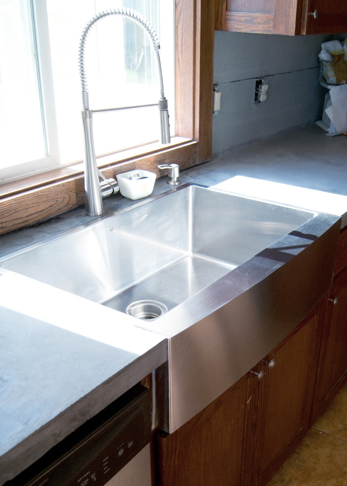 How To Grind Granite Countertops Diy Concrete Counters Poured Over Laminate Averie Lane