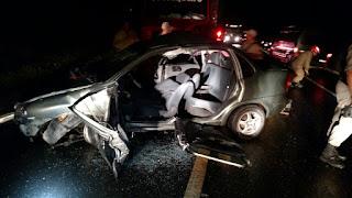Acidente entre três veículos deixa dois feridos gravemente na BR-104, na Paraíba