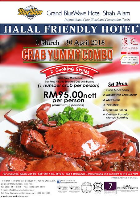MAKAN KETAM CRAB YUMMY COMBO DI GRAND BLUEWAVE HOTEL TUNG YUEN CHINESE RESTAURANT