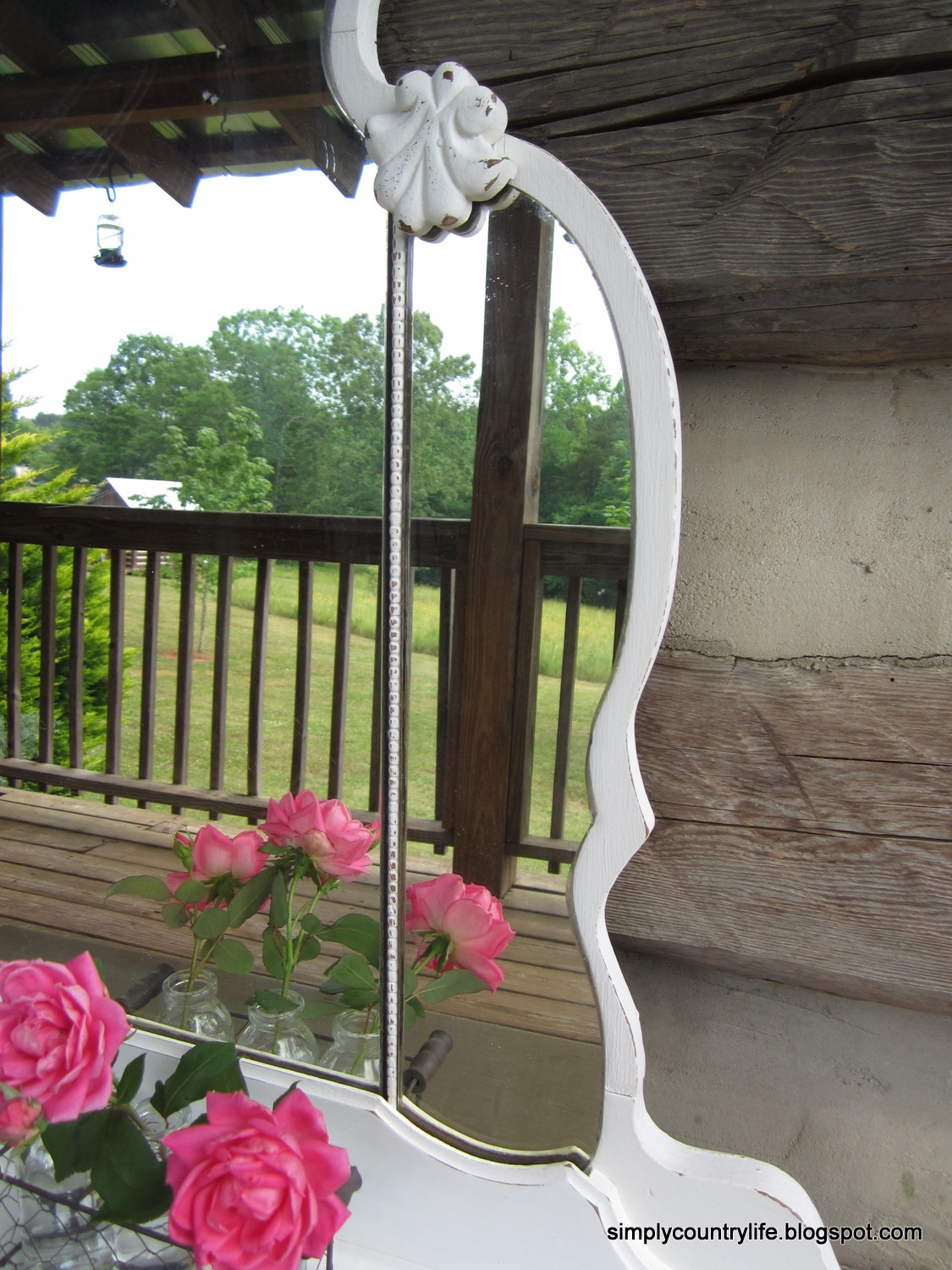 Simply Country Life Antique Vanity Mirror Turned Wall Shelf