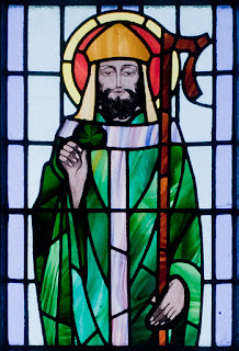 Saint Patrick depicted in a stained glass window