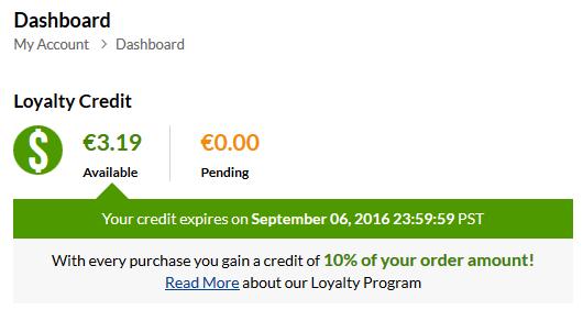 iHerb Loyalty Credit eli iHerb verkkokaupan 10% ostohyvitys tilauksen loppusummasta ilman postikuluja
