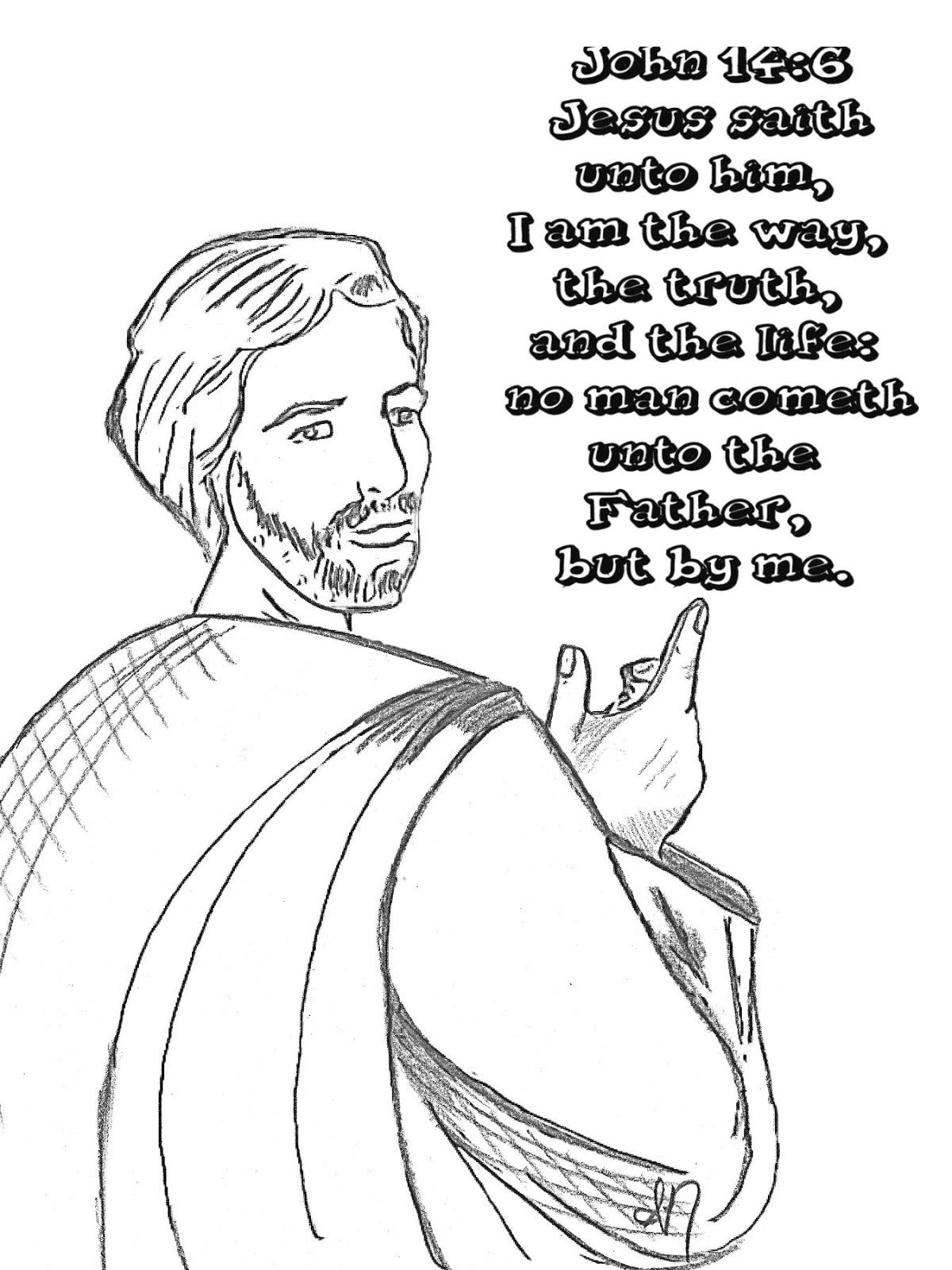 Children's Gems In My Treasure Box: John 14:6 Coloring Page