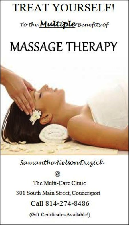 Massage Therapy, Multi-Care Clinic, Coudersport, PA
