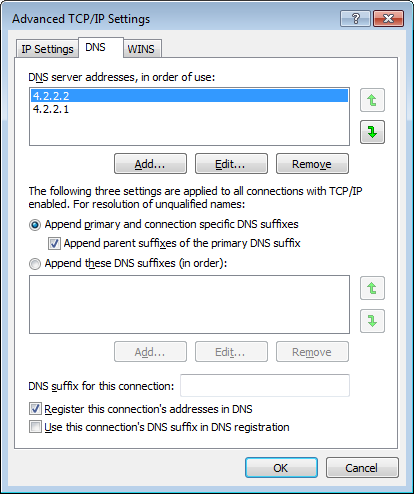 How to set the universal DNS Server address