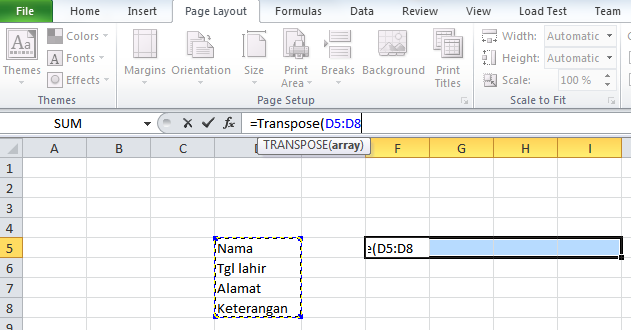 Cara Merubah Data Vertikal ke Horizontal atau sebaliknya pada Micorsoft Excel dengan Rumus/Formula - Block semua data yang akan diubah - infoawak.com