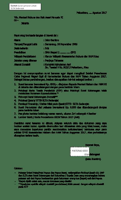 Format Contoh Surat Lamaran CPNS Kementerian Hukum Dan HAM Tahun 2017