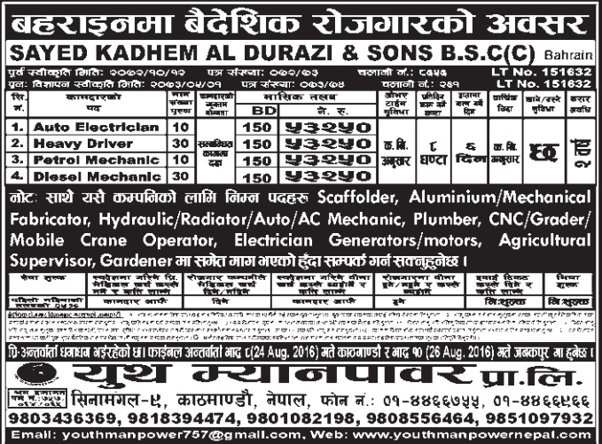 Free Visa, Free Ticket Jobs For Nepali In Bahrain Salary- Rs.53,250/