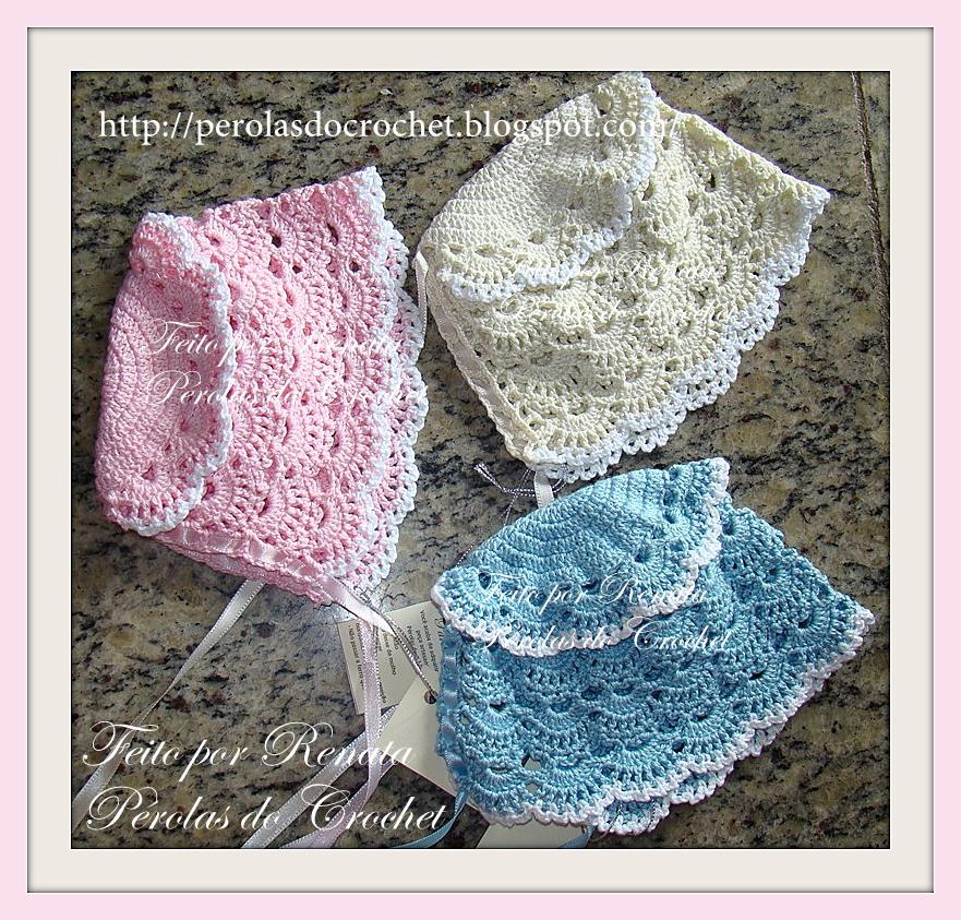 fdf94bd75ed37 Renata Vieira Pérolas do Crochet  Touca em croche para bebê