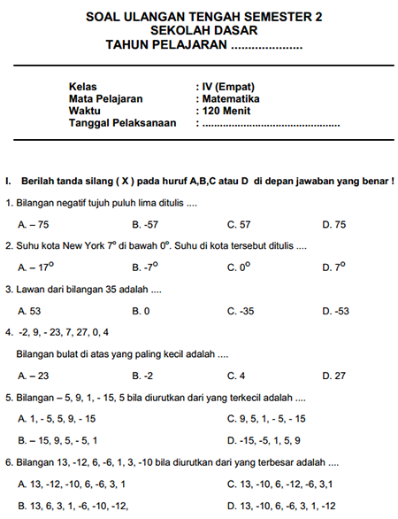 Contoh Latihan Soal UTS Matematika SD Kelas 4 Semester II
