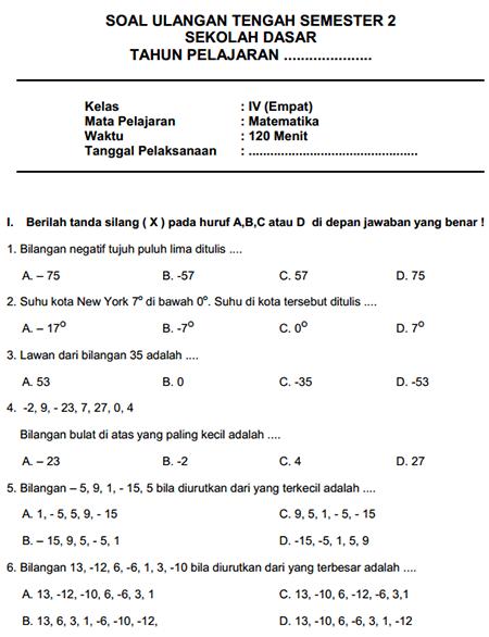 Soal Matematika Kelas 4 Semester 2 Kurikulum 2013 Revisi 2018 : matematika, kelas, semester, kurikulum, revisi, Latihan, Matematika, Kelas, Semester, IlmuSosial.id