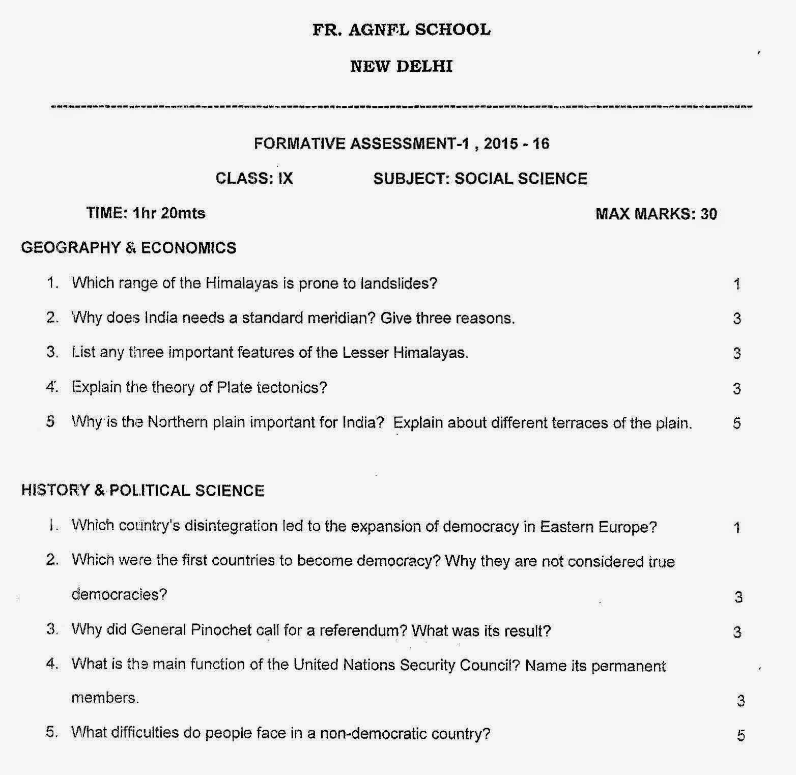 Cbse Class Ix Social Science Sample Papers For