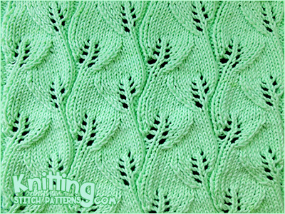 Overlapping Leaves Knitting Stitch Patterns
