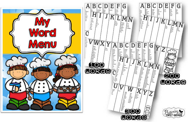 My word menu. Spelling folder for developing sentence writing.
