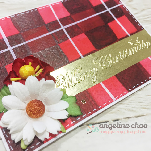 ScrappyScrappy: Merry Christmas plaid card #scrappyscrappy #card #gansaitambi #watercolor #gold #emboss #stickles #flowers #plaid