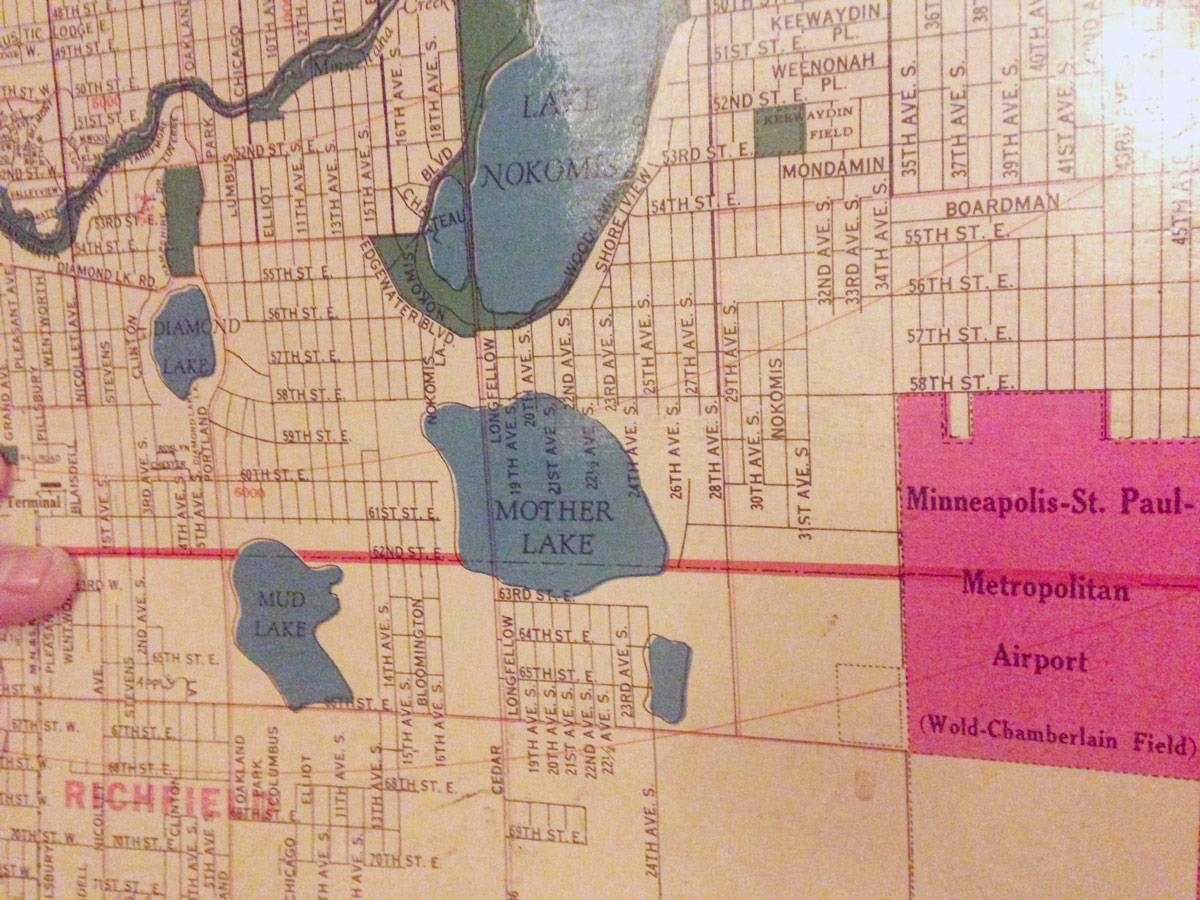 twin city sidewalks  Overlooked Lakes of Minneapolis Bicycle Tour      Map of Minneapolis  southern border lakes  1930s