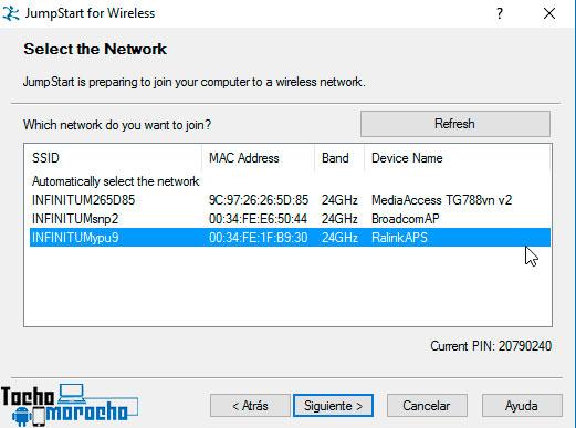 seleccionar red wifi jumpstart